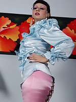 busty Trinity being dressed up as a strict in a kinky satin fetish outfit,.. - Granny Girdles