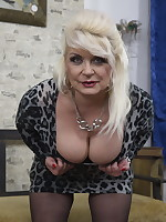 Horny chubby mature lady getis it in POV style