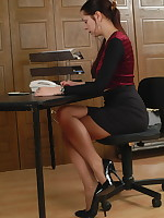 Horny secretary Ellen is showing her panties and then some - Milf Nylon