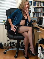 office boss flashes nylons and more - Granny Girdles